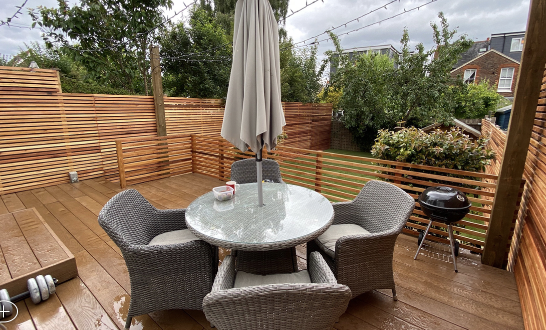 Decking dining area in Millboard
