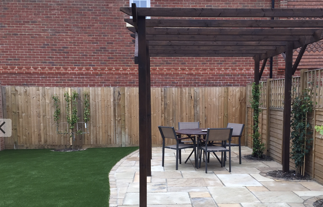 Mint sandstone patio and pergola